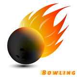 Bowling ball with red orange yellow tone fire in the white background. sport ball logo design. Bowling ball logo. Bowling logo. Royalty Free Stock Image