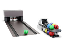 Bowling and ball return system isolated on a white background.. 3d rendering Stock Photos