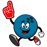 Bowling Ball Running with Foam Finger Stock Image