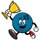 Bowling Ball Running with Trophy. Cartoon illustration of a Bowling Ball Running with a Trophy Royalty Free Stock Photos