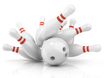 Bowling ball and scattered pin Stock Photography