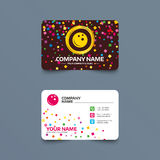 Bowling ball sign icon. Bowl symbol. Business card template with confetti pieces. Bowling ball sign icon. Bowl symbol. Phone, web and location icons. Visiting Royalty Free Stock Images