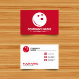 Bowling ball sign icon. Bowl symbol. Business card template. Bowling ball sign icon. Bowl symbol. Phone, globe and pointer icons. Visiting card design. Vector Stock Photo