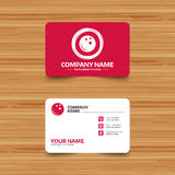 Bowling ball sign icon. Bowl symbol. Business card template with texture. Bowling ball sign icon. Bowl symbol. Phone, web and location icons. Visiting card Stock Images