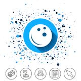 Bowling ball sign icon. Bowl symbol. Button on circles background. Bowling ball sign icon. Bowl symbol. Calendar line icon. And more line signs. Random circles Stock Images