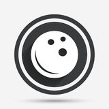 Bowling ball sign icon. Bowl symbol. Circle flat button with shadow and border. Vector Stock Photography