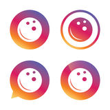 Bowling ball sign icon. Bowl symbol. Gradient buttons with flat icon. Speech bubble sign. Vector Stock Image