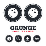 Bowling ball sign icon. Bowl symbol. Grunge post stamps. Bowling ball sign icon. Bowl symbol. Information, download and printer signs. Aged texture web buttons Royalty Free Stock Photos