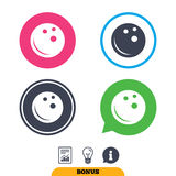 Bowling ball sign icon. Bowl symbol. Report document, information sign and light bulb icons. Vector Stock Image