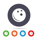 Bowling ball sign icon. Bowl symbol. Round colourful buttons with flat icons. Vector Royalty Free Stock Image
