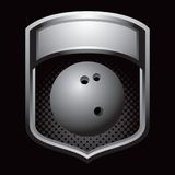 Bowling ball in silver display Royalty Free Stock Photos