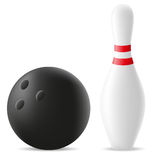 Bowling ball and skittle vector illustration Stock Photos