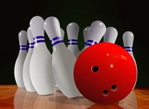 Bowling Ball and Skittle on Wooden Floor. Over Black Stock Image