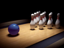 Bowling ball before skittles Royalty Free Stock Image