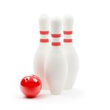 Bowling ball and skittles Stock Photography