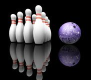 Bowling ball and skittles stock photo