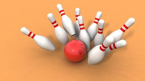 Bowling ball and skittles Stock Photos