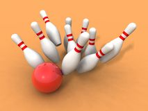 Bowling ball and skittles Stock Images