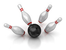 Bowling ball and skittles Royalty Free Stock Image
