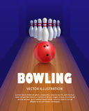 Bowling ball and skittles. Equipment for game. Sport competition. Red bowl and bowling pins. Vector illustration isolated on white background royalty free illustration