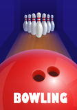 Bowling ball and skittles. Equipment for game. Sport competition. Red bowl and bowling pins. Vector illustration on white background royalty free illustration