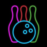 Bowling ball and skittles Royalty Free Stock Images