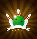 Bowling ball with skittles and white label Royalty Free Stock Images