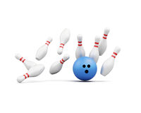 Bowling ball smashes into the pins on white background.  Stock Photography