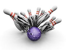 Bowling ball smashing into pins. 3D render of a bowling ball smashing into the skittles Stock Photography