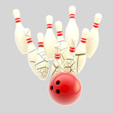 Bowling ball smashing to cracking pins isolated Stock Images