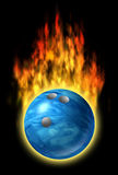 Bowling ball speed fire flames fast excellent skil. Blue bowling sport ball flying with fire flames representing speed and strength Royalty Free Stock Photography