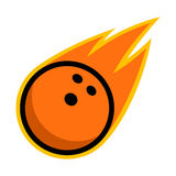 Bowling ball sport comet fire tail flying strike logo. Isolated symbol badge label Stock Photo