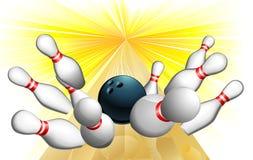 Bowling ball strike. An illustration of a bowling ball scoring a strike Royalty Free Stock Photos