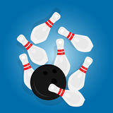 Bowling ball strike pin hit sport object drawing illustration Royalty Free Stock Photos