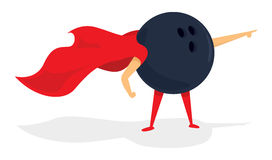 Bowling ball super hero with cape Stock Image