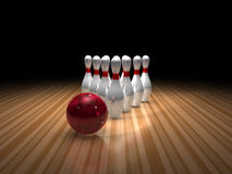 Bowling ball and ten pins Stock Photos