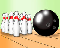 Bowling ball and ten pins Stock Photo