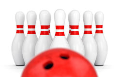 Bowling ball and ten pins Royalty Free Stock Photography