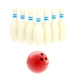 Bowling ball with ten white pins. Bowling red glossy ball with ten white pins isolated on white Stock Image