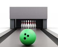 Bowling ball on a track isolated on a white background.. 3d rendering Stock Photography
