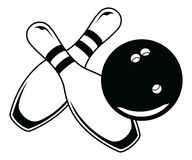 Bowling Ball With Two Pins - Graphic Style Royalty Free Stock Photography