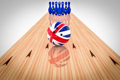 Bowling ball with the United Kingdom flag and bowling pins with the European Community flag Stock Images