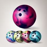 Bowling Ball Vector. Set 3D Realistic Illustration. Colorful Bowling Ball With Shadow. Bowling Ball Vector. Set 3D Realistic Illustration. Colorful Ball With Stock Photography