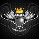 Bowling ball with wings and crown. Vector sport logo for any team. And championship stock illustration