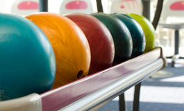 Bowling balls. A group of colored bowling balls Stock Images