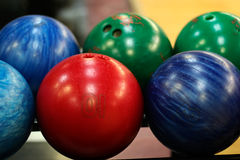 Bowling Balls. Closeup of multicolored bowling balls Royalty Free Stock Images