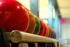 Bowling balls. Row of bowling balls, waiting their turn Royalty Free Stock Image