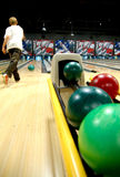 Bowling balls at alley Royalty Free Stock Image