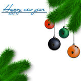 Bowling balls on Christmas tree branch. Congratulations to the New Year and bowling balls hanging on the Christmas tree branch on a white background. Vector Royalty Free Stock Photo