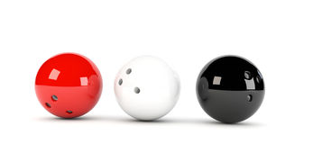 3 bowling balls. 3D illustration of 3 red bowling balls in red white and black Royalty Free Stock Images